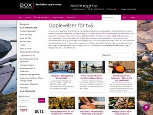 """Avdelningen """"Upplevelser"""" hos Box Experience"""