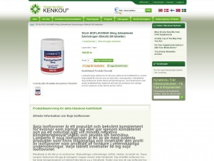 "Avdelningen ""Sojaisoflavoner"" hos Vitaminbutiken Kenkou"